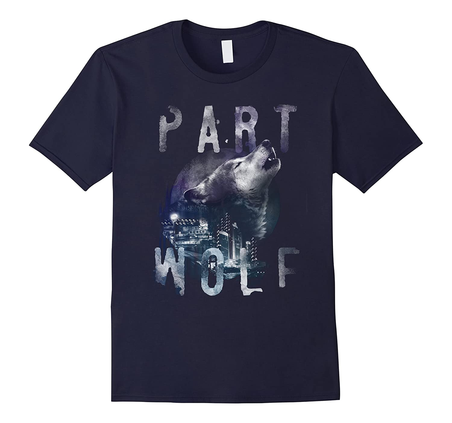 Graphic Design Howling Wolf Animal Head City T-shirt-TH