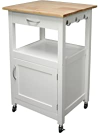 EHemco Kitchen Island Cart Natural Wood Top With White Base (white)