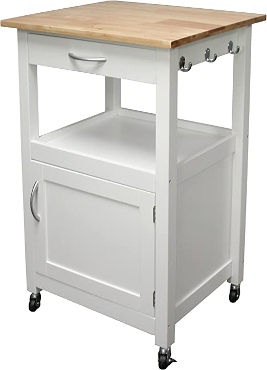 eHemco White Kitchen Island Cart Natural Wood Natural Top