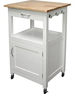 Amazon Com White Linon Storage Cart On Wheels With Granite Top