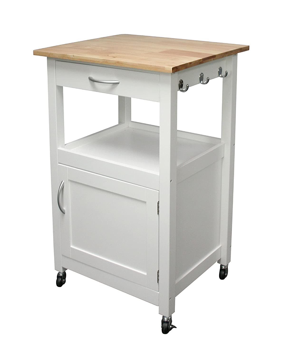 Amazon com ehemco kitchen island cart natural wood top with white base white kitchen islands carts