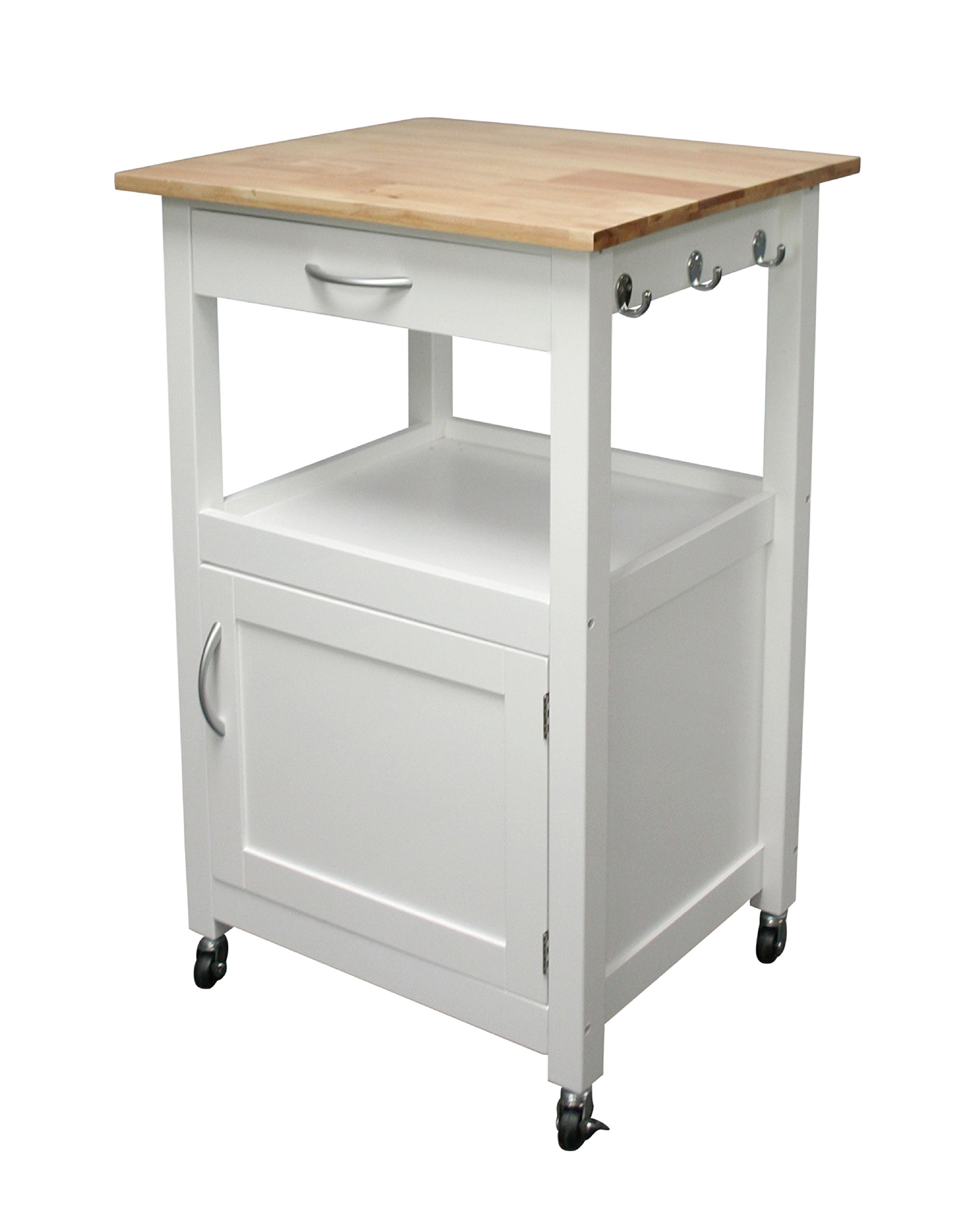 eHemco White Kitchen Island Cart Natural Wood Natural Top by eHemco