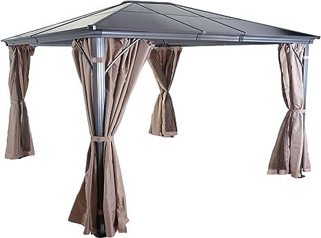 Mendler Hardtop Pergola HWC-C74, jardín, cenador, Techo de plástico, Pared Lateral + mosquitera de Aluminio