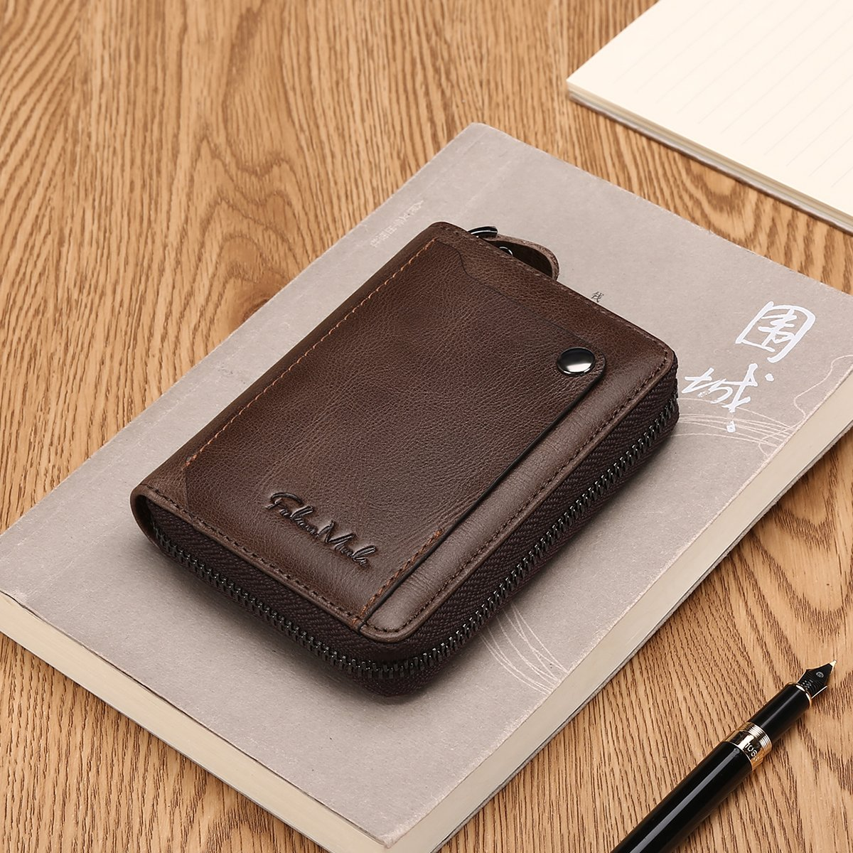 Slim Bifold RFID Blocking Men Wallet Leather Front Pocket Compact Design Zipper Closure Minimalist by Falan Mule (Image #4)
