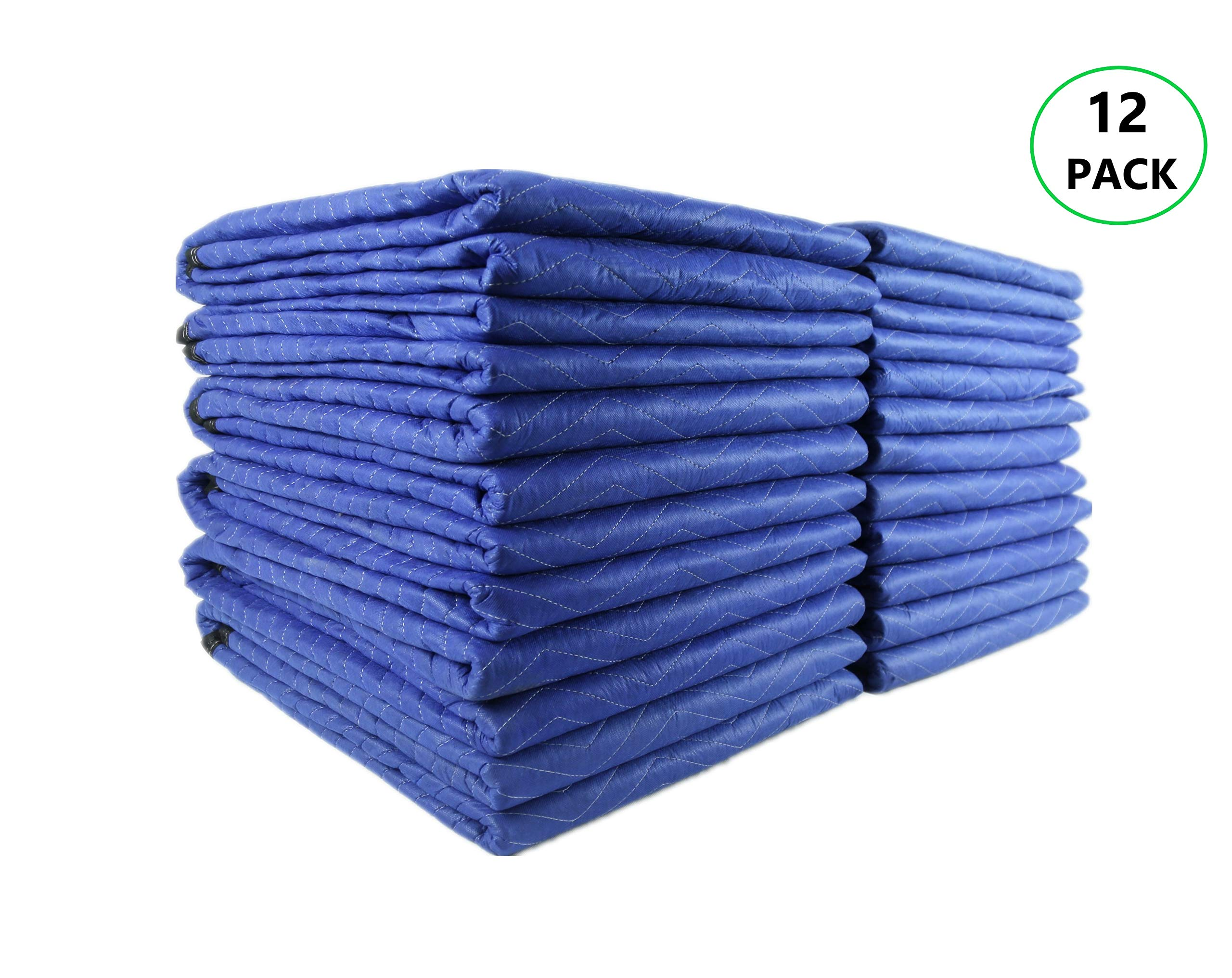 Shentao 12 Moving & Packing Blankets - 80'' x 72'' (40 lb/dz Weight) Thick Padding, Colorfast, Professional Quilted Furniture Blankets Blue/Black