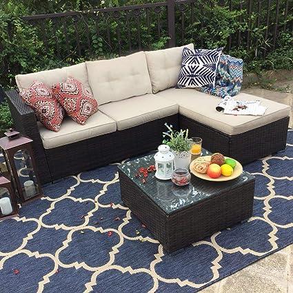 PHI VILLA 3-Piece Outdoor Rattan Sectional Sofa- Patio Wicker Furniture Set,  Beige - Amazon.com : PHI VILLA 3-Piece Outdoor Rattan Sectional Sofa- Patio