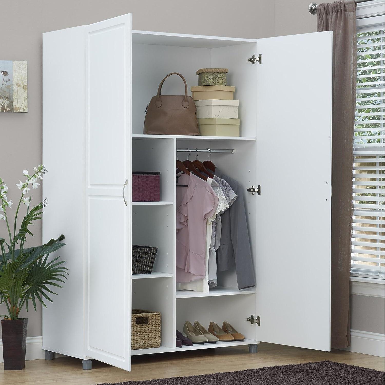 Amazon.com: Solid Closet Storage Wardrobe Armoire Cabinet Bedroom ...