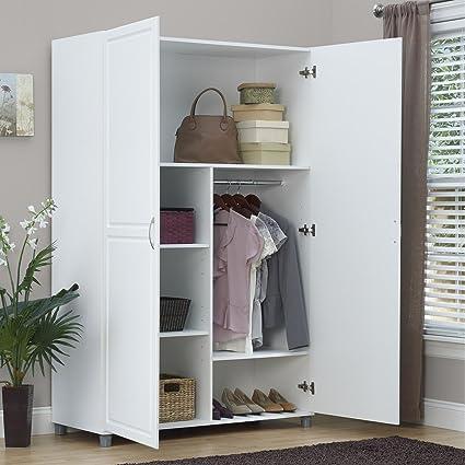 closet bedroom. Solid Closet Storage Wardrobe Armoire Cabinet Bedroom Furniture Clothes Wood Organizer New White Dresser