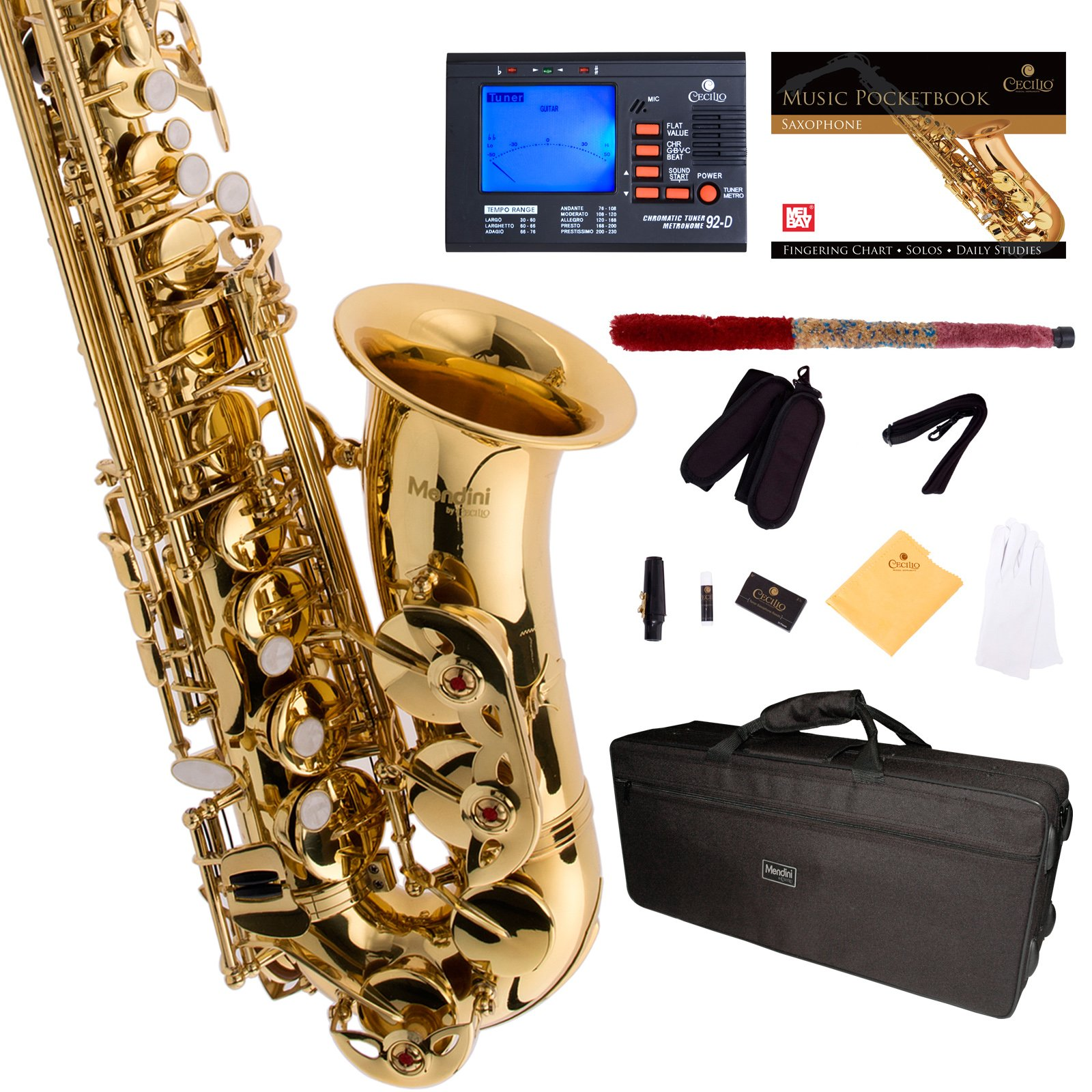 Mendini by Cecilio MAS-L+92D+PB Gold Lacquer E Flat Alto Saxophone with Tuner, Case, Mouthpiece, 10 Reeds and More by Mendini