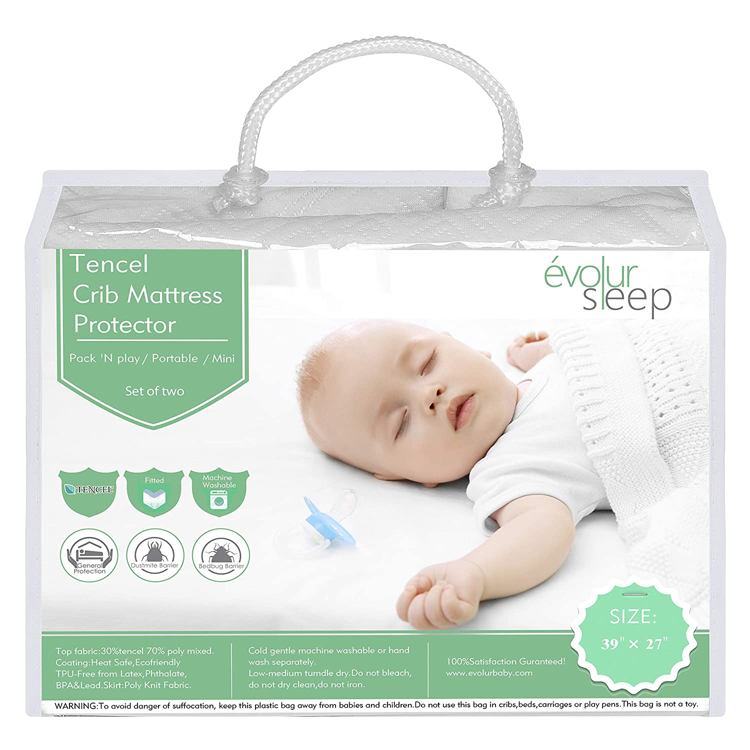 White Dream on Me Dropship EV-102 Evolur Portable Crib Tencel Waterproof Mattress Protector and Fitted Sheet 2 Pack