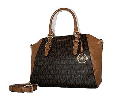 b762d7ff511c03 MICHAEL Michael Kors Ciara Large Top Zip Handbag Leather Satchel (Brown/acorn):  Handbags: Amazon.com