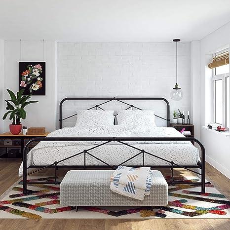 Amazon Com Novogratz Francis Farmhouse King Frame Storage Black Metal Beds Furniture Decor