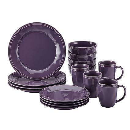 Rachael Ray 16-Piece Cucina Stoneware Dinnerware Set Lavender/Purple  sc 1 st  Amazon.com & Amazon.com: Rachael Ray 16-Piece Cucina Stoneware Dinnerware Set ...