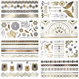 MelodySusie Temporäre Klebe-Tattoos Körper Tattoos mit 100+ Motiven, Metallic Flash tattoos in Silber & Gold, 8 Blätter