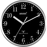 Compacted MSF Signal Radio Controlled Brushed Aluminium Metal Cased Black Dial Non Ticking Sweeping Seconds Quartz Wall Clock