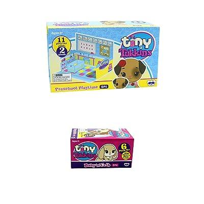 Tiny Tukkins Doggy Preschool Playtime Playset and Baby 'n' Crib Set Blind Plush Mini Pack Bundle: Toys & Games