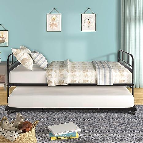 Amazon.com: Sofá cama individual con estructura de metal ...