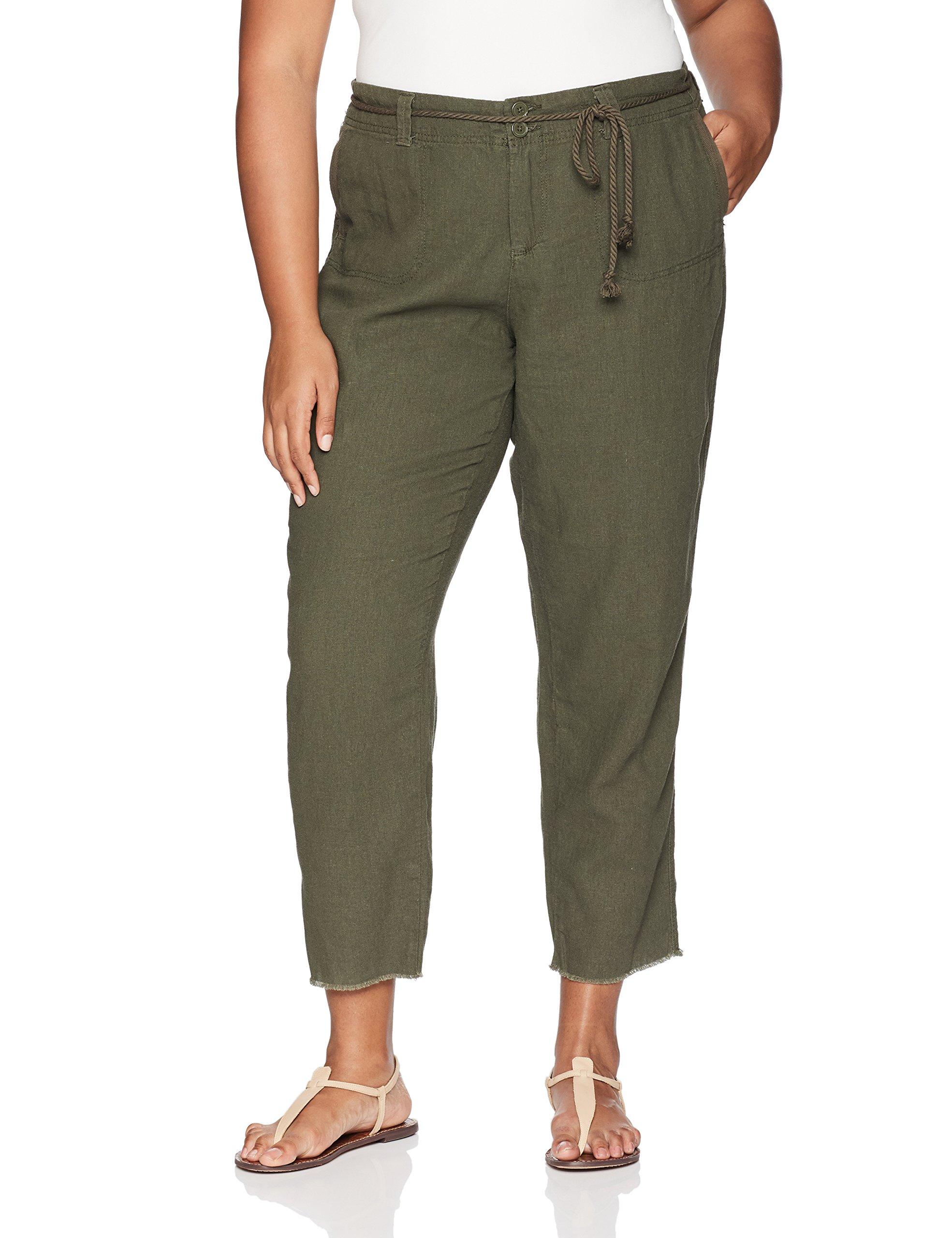 dollhouse Women's Plus Size Linen, Army Green, 16