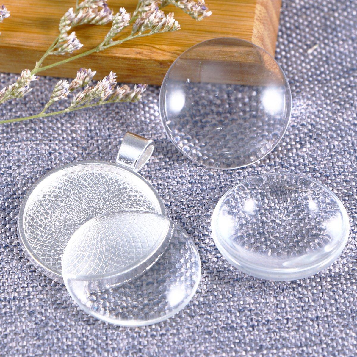 ARTLILY 20 Set Bezel Pendant Trays Glass Cabochon Pendant Blanks with Glass Cabochon Dome Tiles Bezel Cabochon Settings Silver