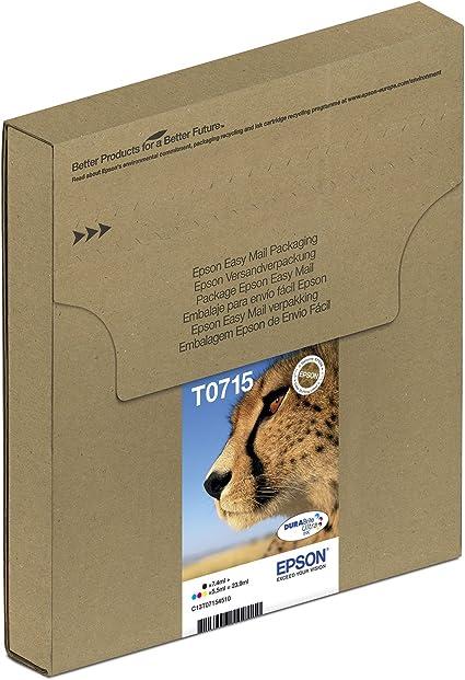 Epson Original T0715 Tinte Gepard Wisch Und Wasserfeste Multipack 4 Farbig Cymk Bürobedarf Schreibwaren