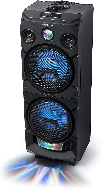 Muse M 1935 Dj Bluetooth Party Lautsprecher Mit Akku Und Lichteffekten Usb Aux 400 W Schwarz Audio Hifi