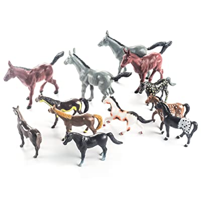 Fun Central AZ986, 12 Pcs, 4 Inches Assorted Plastic Horse