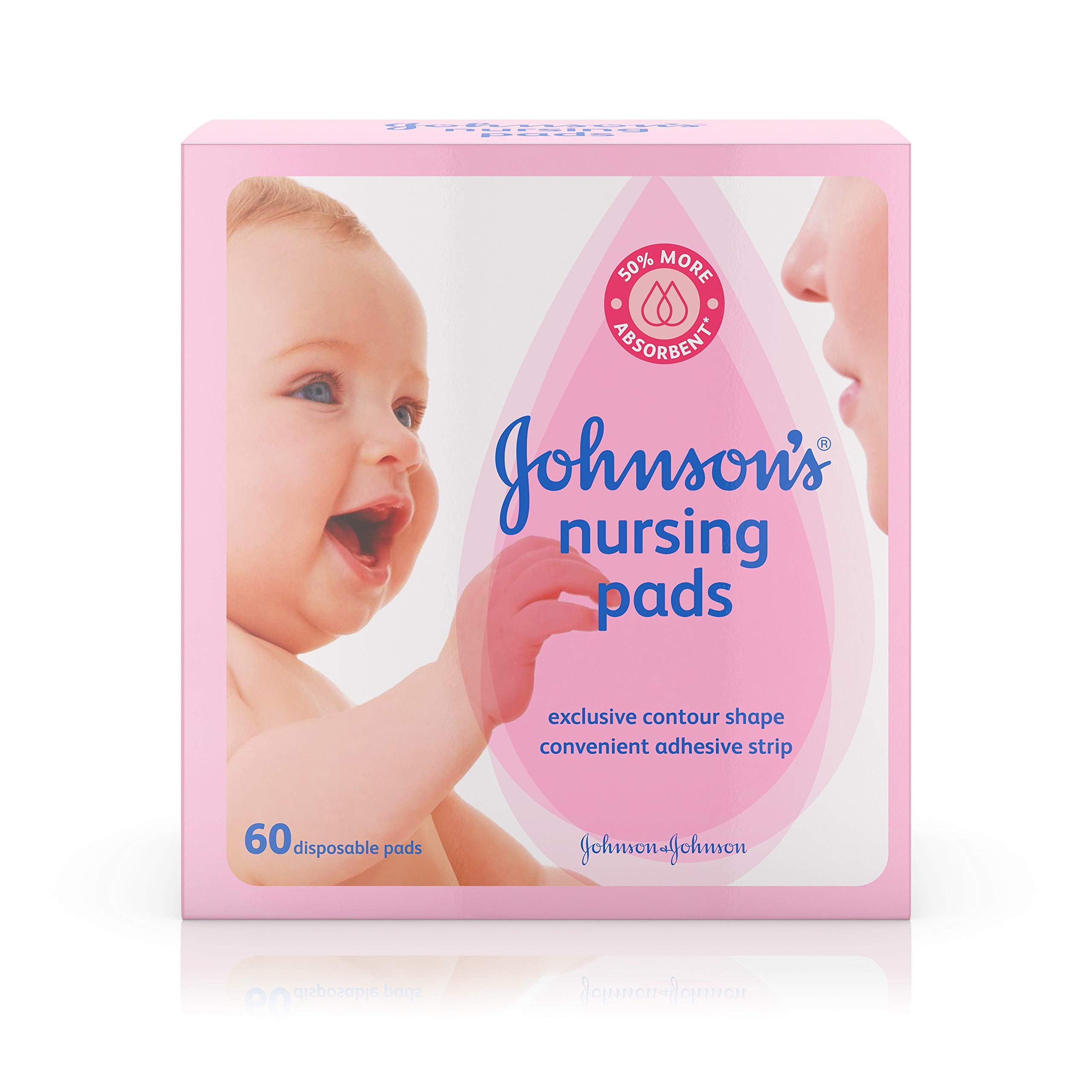 Johnson's Disposable Nursing Pads with Natural Cotton, Super Absorbent, Comfortable, and Breathable, Natural Contour Shape, 60 ct ( Pack of 2) by Johnson's