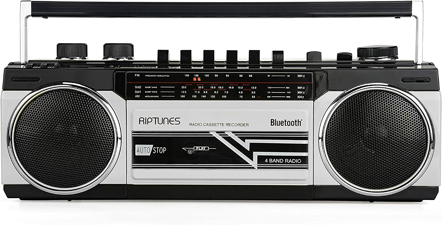 Riptunes Cassette Boombox, Retro Blueooth Boombox, Cassette Player and Recorder, AM/FM/ SW-1-SW2 Radio-4-Band Radio, USB, SD, Silver