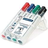 Staedtler 351 WP4 Whiteboard-Marker Lumocolor (Rundspitze ca. 2 mm Linienbreite, Set mit 4 Farben, hohe Qualität Made in Germany, trocken und rückstandsfrei abwischbar von Whiteboards)