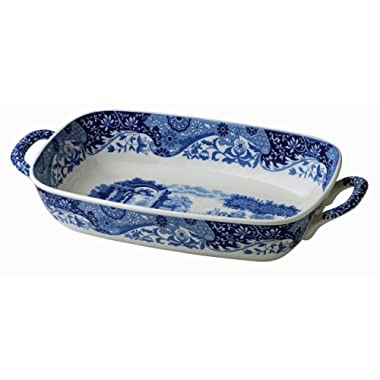 Spode 783931408892 Blue Italian Handled Serving Dish, 11.5 x 8, White