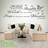 1Stop Graphics Shop - MAY THIS HOME BE BLESSED WALL STICKER QUOTE - BEDROOM LOUNGE WALL ART DECAL X88 - Colour: Black - Size: Large