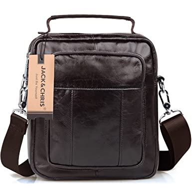Amazon.com | Jack&Chris Men's Genuine Leather Messenger Crossbody ...