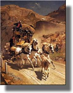 The Gotthard Post by Koller Horse Carriage Picture on Stretched Canvas, Wall Art Decor Ready to Hang!.