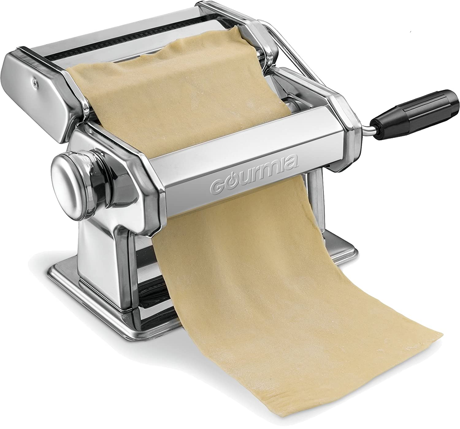 Gourmia GPM9980 – Pasta Maker, Roller and Cutter - Manual Hand Crank – Slices Dough into Spaghetti and Fettuccine – Stainless Steel Surface and Chrome Plated Parts - 150mm
