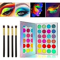 Kalolary Neon Luminous Eyeshadow Palette, UV Glow Blacklight Matte en Sparkling Eyeshadow Glows In The Dark, 24 Kleuren…
