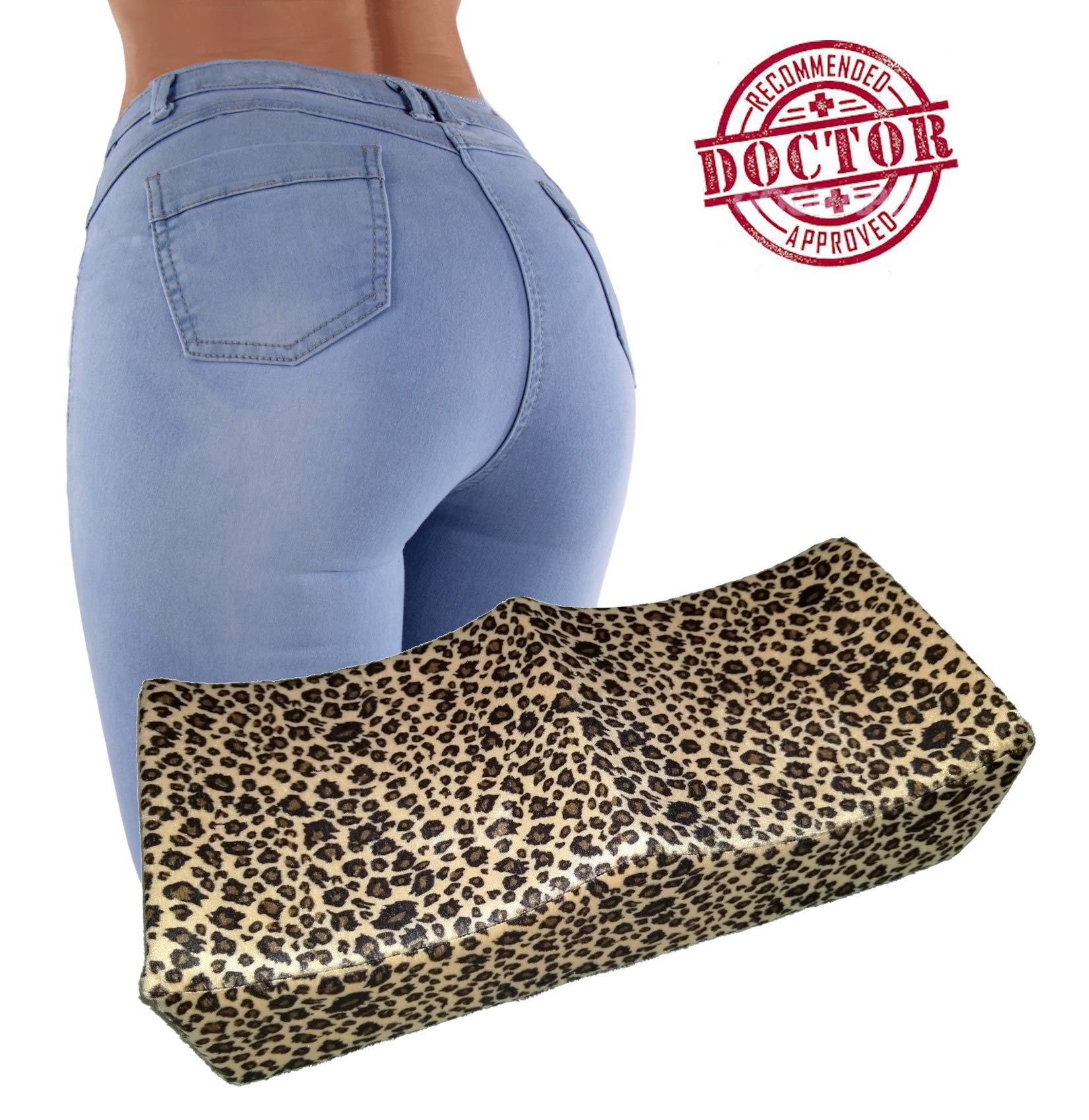 BBL Pillow - Brazilian Butt Lift Hard Foam Pillow with Booty Support Technology - Dr. Approved for Post Surgery Recovery Seat pressure offloading relief from pain area - Leopard Print cover BBL Pillow by CheckBox