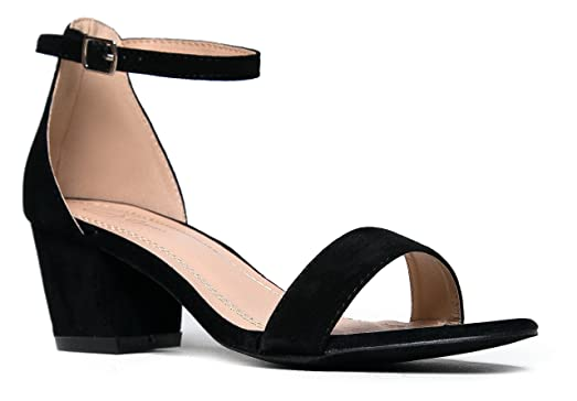 Amazon.com | J. Adams Ankle Strap Kitten Heel - Adorable Low Block ...