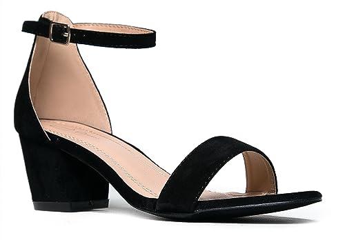 42a9863bba9 J. Adams Ankle Strap Kitten Heel - Adorable Low Block Heel - Daisy
