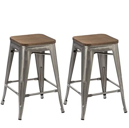 BTEXPERT 30-inch Industrial Stackable Tabouret Vintage Antique Rustic Clear Brush Distressed Metal Bar Stools Wood top seat Set of Two