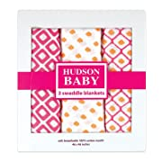 Hudson Baby Muslin Swaddle Blankets,( Pink Packaging may vary )