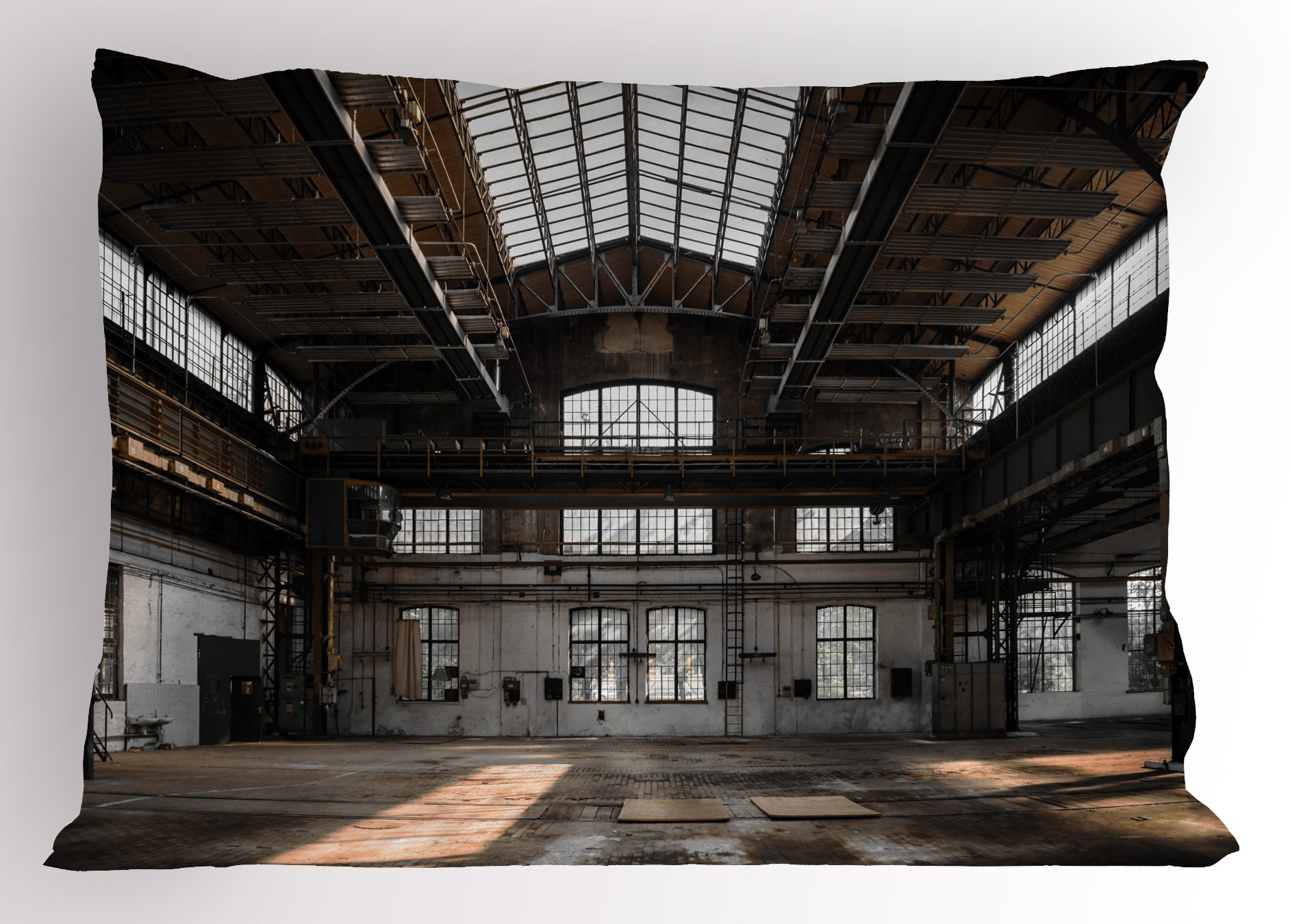 Ambesonne Industrial Decor Pillow Sham, Inside a Hangar Old Architecture Construction Urban Timeworn Windows, Decorative Standard Size Printed Pillowcase, 26 X 20 inches, Brown White Grey by Ambesonne (Image #1)
