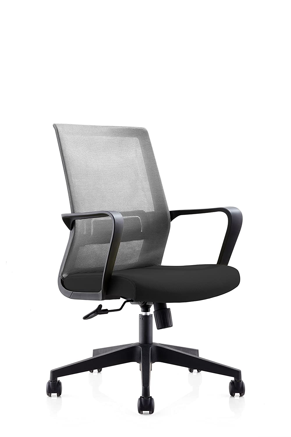 UZUO Mesh Mid-Back Office Chair with Ajustable Lumbar Support Task Chair Computer Chair Desk Chair with Fixed Armrest for Home Office,Black