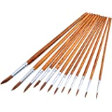 Mudder 12 Pieces Paint Brushes Set Fine Paint Brush Acrylic Painting Brush for Artist Oil Painting Watercolor, Dark Brown