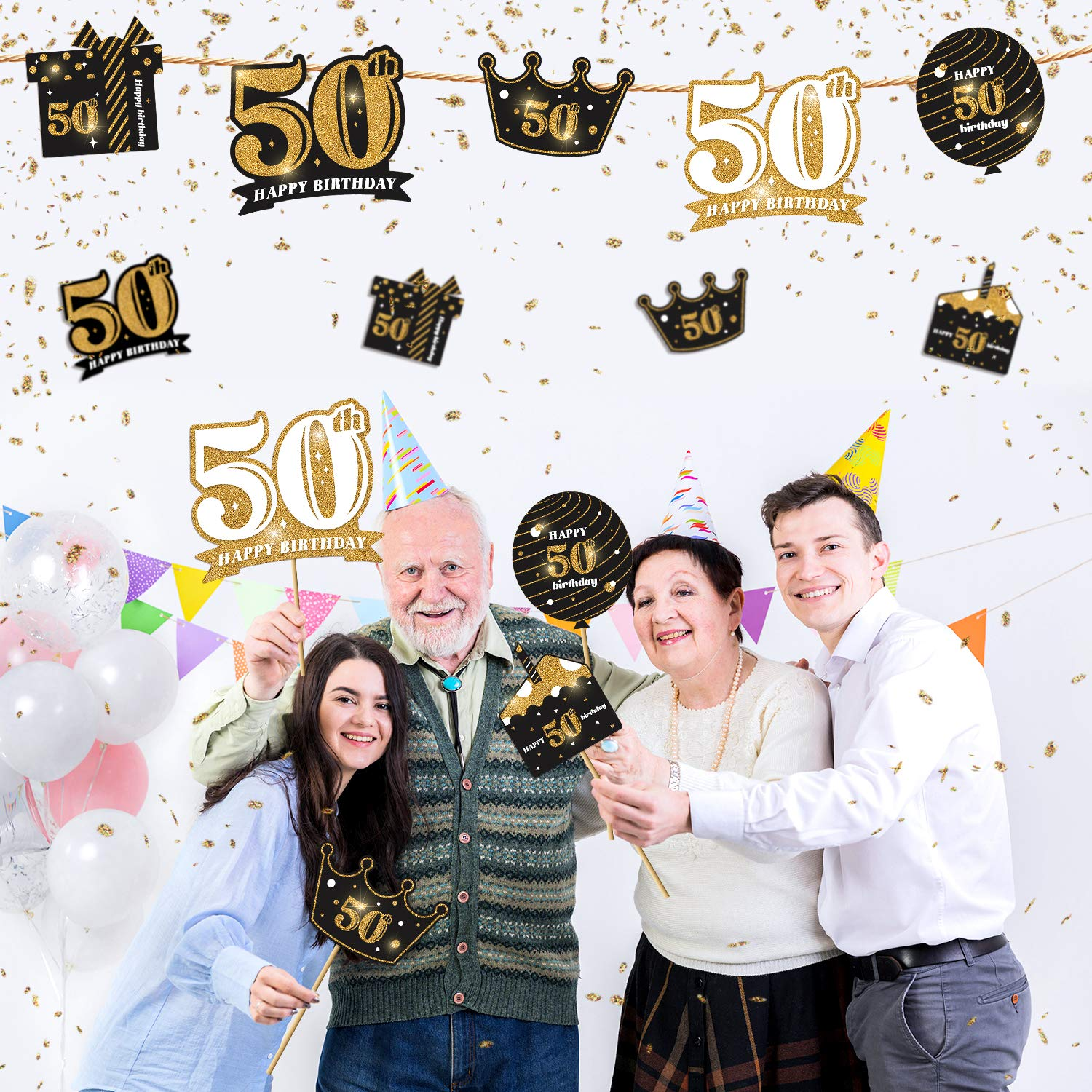 50th Birthday Party Decoration Set Real Glitter Birthday Table Toppers Party Photo Booth Props kortes 24Pack 50th Birthday Party Centerpiece Stickers