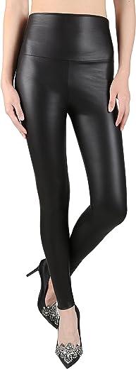 بنطلون ضيق من الجلد الصناعي المرن للنساء من jntWorld، بنطلون ضيق أسود عالي الخصر