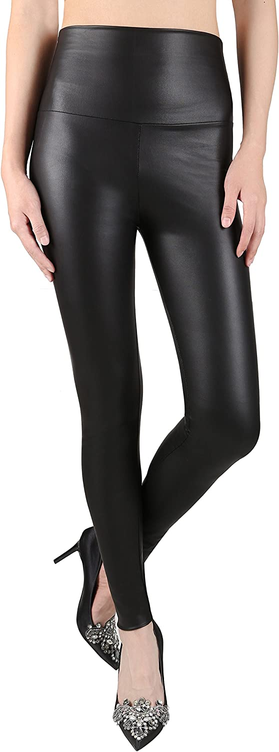Women Legging Wet Look Mat Skinny Stretchy Leather Optic Latex Faux Yarn S M L