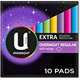 U by Kotex Extra Overnight Pads with Wings, Pack of 10