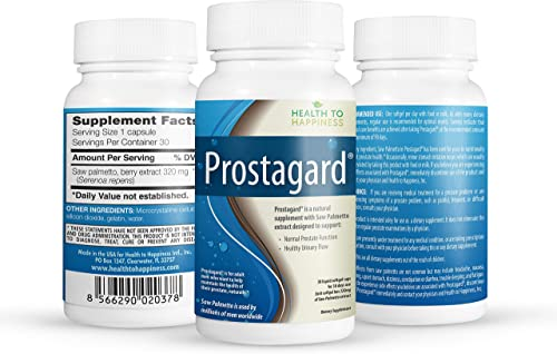 PROSTAGARD – Saw Palmetto Supplement for Prostate Health, 30 One a Day 320 mg capsules – To Promote Healthy Urination Frequency Flow May Help Block DHT Premium Saw Palmetto Made in USA