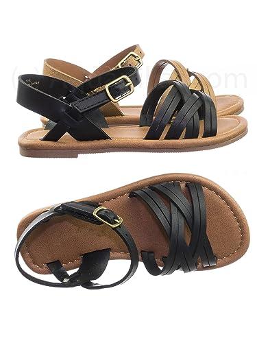 8b251075e573 Aquapillar Children Girl Flat Shoes Strappy Huarache Cage Summer Open Toe  Sandal Black