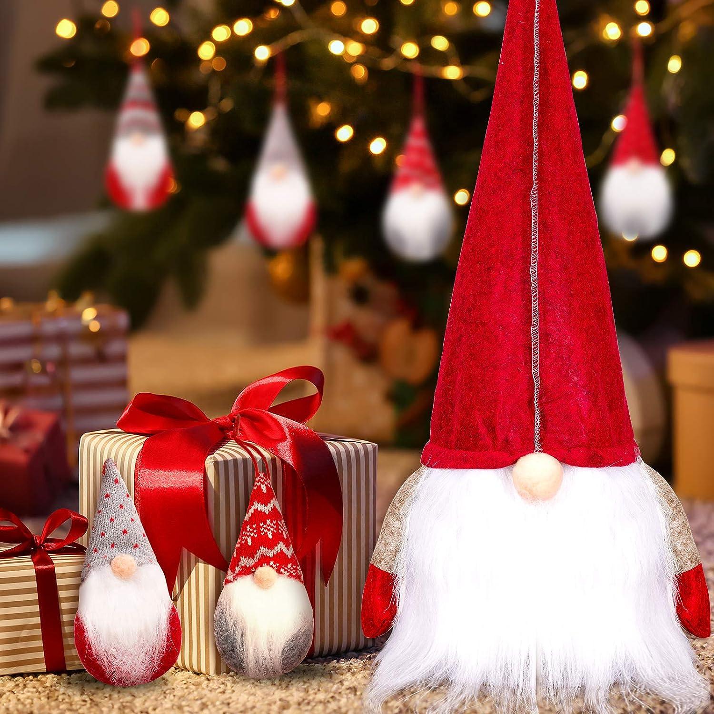 Whaline 5Pcs Christmas Tree Toppers Gnomes Xmas Tree Hanging Gnomes Swedish Tomte Plush Scandinavian Santa Ornaments Handmade Beard Decorations for Christmas Party New Year Holiday Home Decor Gift